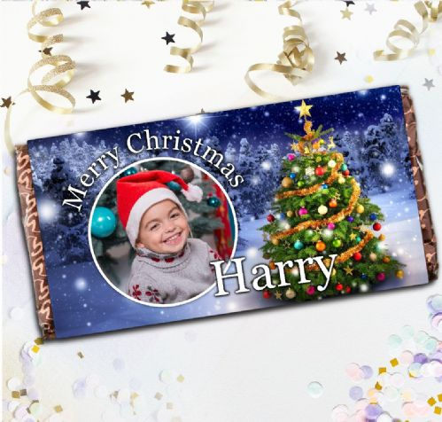 Personalised Merry Christmas Sparkle Tree Milk Chocolate Bar - Xmas Eve Stocking Filler Gift N84